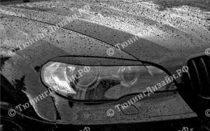 """Накладки на фары (реснички узкие) """"ARS"""" для BMW X5 (E70)"""