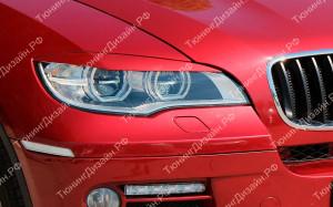 """Накладки на фары (реснички для LED фар) """"MV"""" для BMW X6 (E71/E72)"""