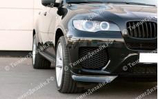 "Накладки переднего бампера (клыки) ""GT"" тюнинг для BMW X6 (БМВ E71/E72)"