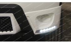 """Накладки на передний бампер c ДХО """"ARS"""" для Renault Duster [2011–2015]"""