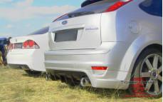 """Разводка выхлопной системы (без насадок, нерж) для диффузора """"Sport"""" на Ford Focus 2 хэтчбек [2004-2008]"""