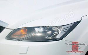 """Накладки на фары (реснички) """"вариант №1"""" для Ford Focus 2 [2004-2008]"""