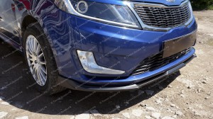 """Накладка на передний бампер (сплиттер) """"GT"""" для Kia Rio III седан/хэтчбек [2011–2014]"""