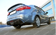 """Накладка на задний бампер (диффузор со стоп-сигналом) """"BSM Performance"""" для Kia Rio III седан [2011–2014]"""