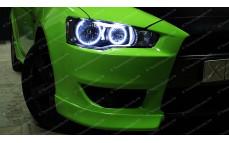 """Накладки переднего бампера (клыки) """"Sport 2.0L"""" для Mitsubishi Lancer 10 (дорестайлинг) [2007–2010]"""