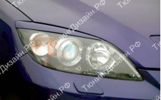 """Накладки на фары (короткие реснички) """"MV"""" для Mazda 3 BK"""