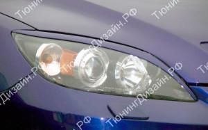 """Накладки на фары (удлиненные реснички) """"MV"""" для Mazda 3 BK"""
