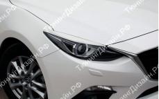 "Накладки на фары (реснички для адаптивных фар) ""MV"" тюнинг для Mazda 3 BM (Мазда 3)"