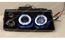 """Передние фары """"BP"""" (ангельские глазки, черные) для ВАЗ 2108, 2109, 2099"""