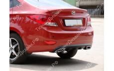 """Накладка на задний бампер (диффузор) """"MV-1"""" для Hyundai Solaris седан [2010-2014]"""