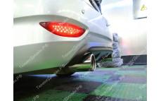 "Накладка на задний бампер (диффузор) ""MV-2 (двойной выхлоп)"" тюнинг для Hyundai Solaris (Хендай Солярис)"