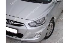 """Накладки на фары (реснички) """"MV-1"""" для Hyundai Solaris [2010-2014]"""