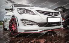 "Накладка на передний бампер (юбка) ""ZEUS"" тюнинг для Hyundai Solaris (Хендай Солярис) [седан/хэтчбек]"