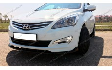 "Накладка на передний бампер (сплиттер) ""ZEUS"" для Hyundai Solaris [2014-2016]"