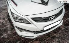 """Накладки на фары (реснички) """"ZEUS"""" для Hyundai Solaris [2014-2016]"""