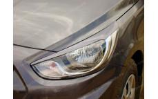 """Накладки на фары (реснички) """"YT iFlow"""" для Hyundai Solaris [2010-2014]"""