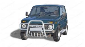 Кенгурятник для Нивы ВАЗ 2121-2131 (с прям. усами, с доп. защитой двигателя, d63,5)