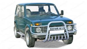 Кенгурятник для Нивы ВАЗ 2121-2131 (с загнут. усами, с доп. защитой двигателя, d63,5)