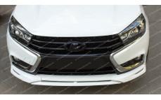 "Накладки на передний бампер (клыки + сплиттер) ""VTS"" для Lada Vesta"